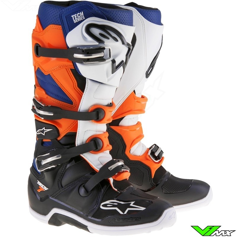 alpinestars 2017 tech 7 mx boots black orange white blue v1mx. Black Bedroom Furniture Sets. Home Design Ideas