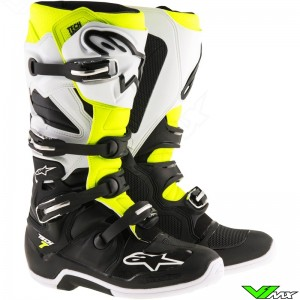 Alpinestars 2017 TECH 7 MX Boots Black / White / Fluo Yellow