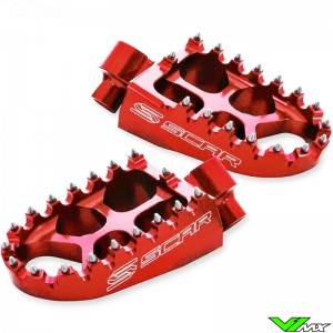 Foot pegs Scar Evolution red - Honda CR125 CRF150R CR250 CRF250R CRF450R Kawasaki KXF250 KXF450
