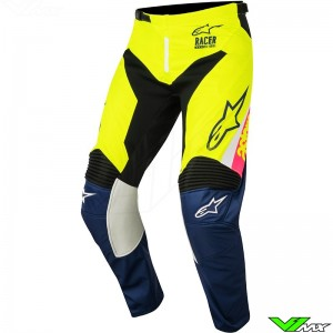 Alpinestars Youth Racer Supermatic MX Pants White / Dark Blue / Fluo Yellow