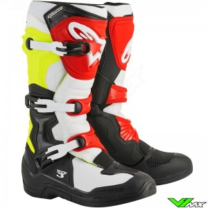 Alpinestars Tech 3 Motocross Boots Black / White / Fluo Yellow / Red