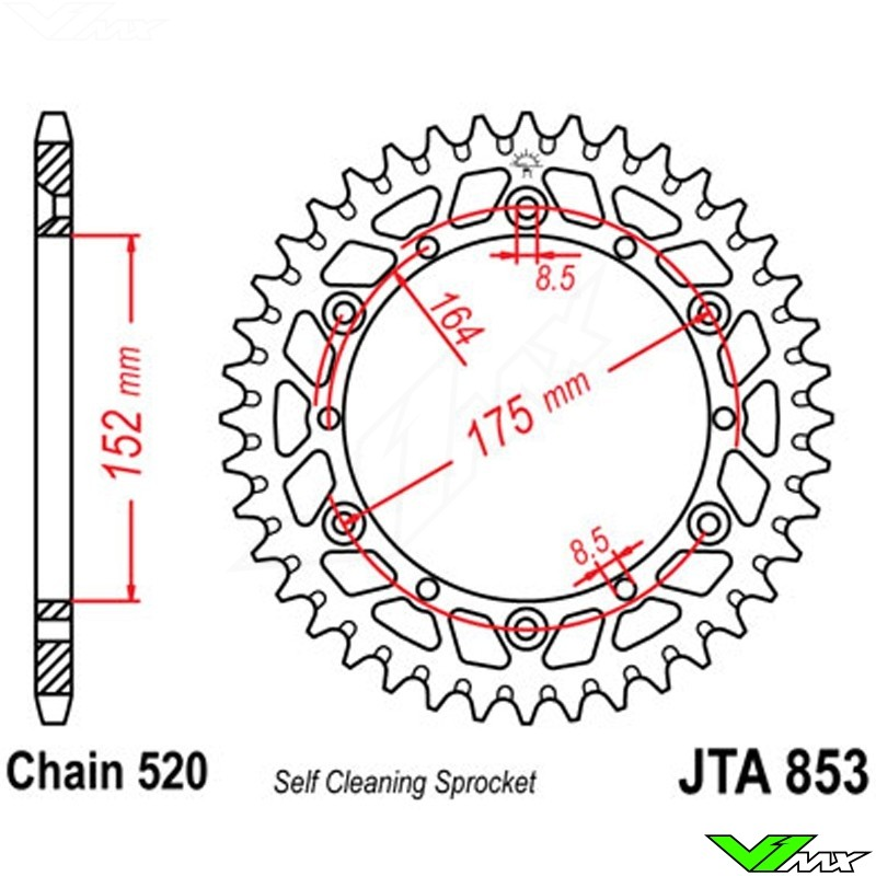 JT Rear Sprocket 48T 520P JTA251.48 Aluminium Silver Yamaha YZ 250 2T 2009