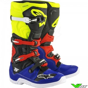 Alpinestars 2018 Tech 5 MX Boots Blue / Black / Fluo Yellow / Red