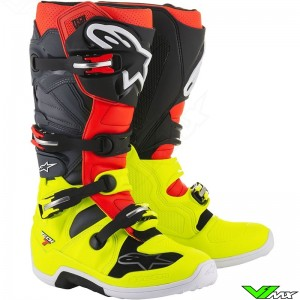 Alpinestars 2018 Tech 7 MX Boots Fluo Yellow / Fluo Red / Gray