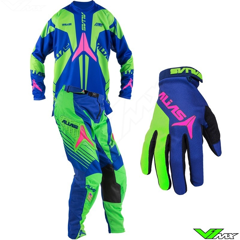 Alias A1 Gear Combo Neon Green / Blue / Pink (32/34/M/L)