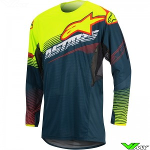 Alpinestars Techstar Factory Cross shirt Petrol / Fluo Geel (S/M)