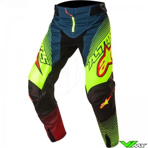 Alpinestars Techstar Factory MX Pants Petrol / Fluo Yellow / Red