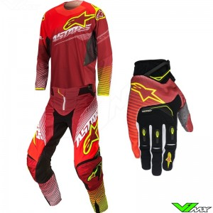 Alpinestars Techstar Factory Gear Combo Red / Fluo Yellow (30/S)