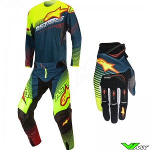 Alpinestars Techstar Factory Gear Combo Petrol / Fluo Yellow / Red