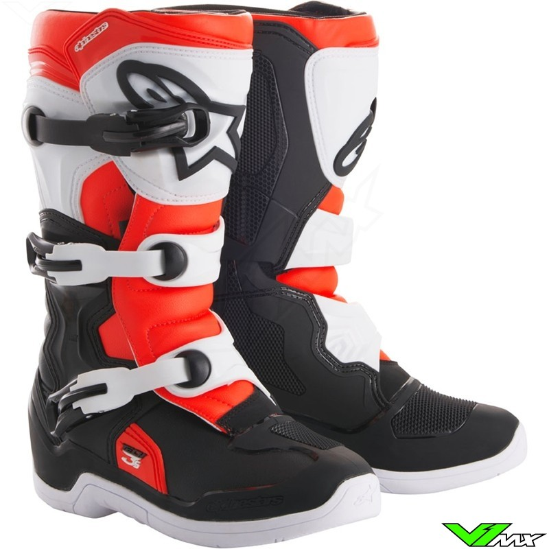 Alpinestars 2018 Tech 3S Youth MX Boots Black / White / Fluo Red