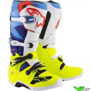 Alpinestars 2018 Tech 7 MX Boots Fluo Yellow / White / Blue / Cyan