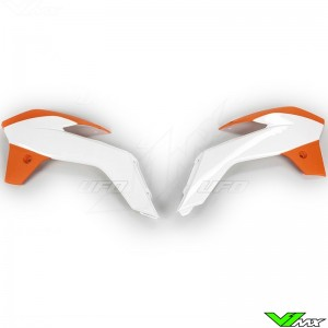 UFO Radiator Shrouds White Orange - KTM 85SX
