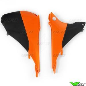 UFO Airbox Cover Black Orange - KTM 125EXC 200EXC 250EXC 300EXC 450EXC 500EXC 250EXC-F 350EXC-F