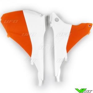 UFO Airbox Cover White Orange - KTM 125EXC 200EXC 250EXC 300EXC 450EXC 500EXC 250EXC-F 350EXC-F