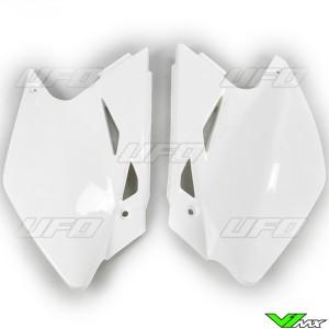 UFO Side Number Plate White - Kawasaki KXF450