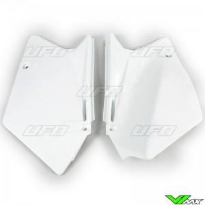 UFO Side Number Plate White - Suzuki RMZ450