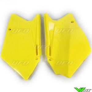UFO Side Number Plate Yellow - Suzuki RMZ450