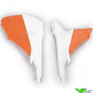 UFO Luchtfilterbakdeksel Wit Oranje - KTM 125SX 250SX 250SX-F 350SX-F 450SX-F