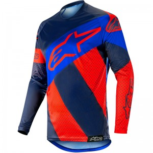 Alpinestars Racer Tech Atomic 2019 Cross Shirt - Rood / Donker Navy / Blauw