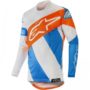 Alpinestars Racer Tech Atomic 2019 Cross Shirt - Cool Grijs / Mid Blauw / Fluo Oranje