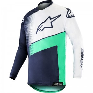 Alpinestars Racer Supermatic 2019 Cross Shirt - Donker Navy / Teal / Wit