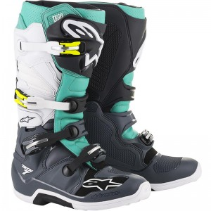 Alpinestars Tech 7 2019 Crosslaarzen - Donker Grijs / Teal / Wit