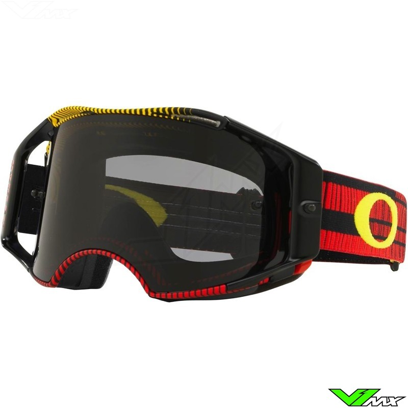 Oakley Airbrake Crossbril - Frequency Rood Geel - Donkere Lens