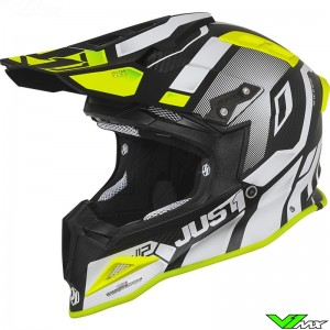 Just1 J12 Crosshelm - Vector / Wit / Fluo Geel / Carbon