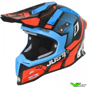 Just1 J12 2019 Motocross Helmet - Vector / Orange / Blue / Carbon