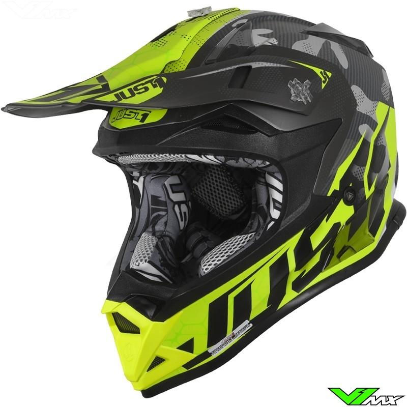 Just1 J32 Pro Motocross Helmet - Swat Camo / Fluo Yellow