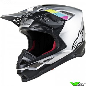Alpinestars Supertech S-M8 Crosshelm - Contact Zilver / Zwart
