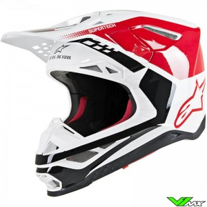 Alpinestars Supertech S-M8 Crosshelm - Triple Rood / Wit