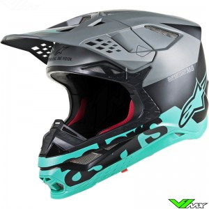 Alpinestars Supertech S-M8 Motocross Helmet - Radium / Grey / Teal / Black