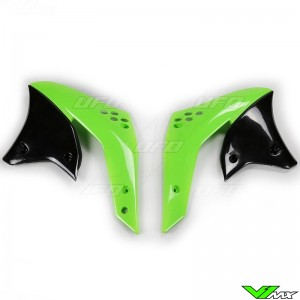 UFO Lower Radiator Shrouds Green - Kawasaki KXF250