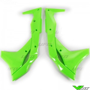 UFO Radiator Shrouds Fluo Green - Kawasaki KXF250