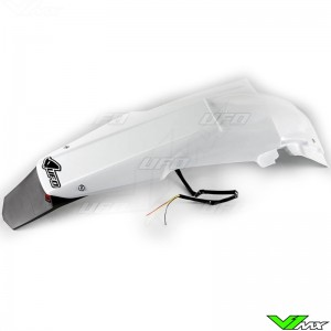 UFO Rear Fender with LED Tail Light White - Suzuki RMZ450