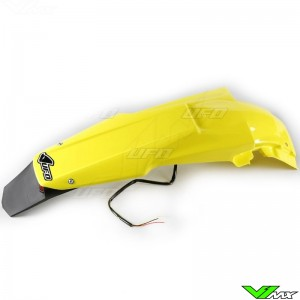 UFO Rear Fender with LED Tail Light Yellow - Suzuki RMZ450