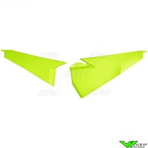 UFO Side Number Plates Upper Fluo Yellow - Husqvarna FC250 FC350 FC450 TC125 TC250