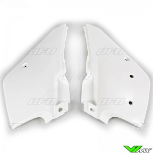 UFO Side Number Plates White - Kawasaki KDX200