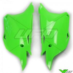 UFO Side Number Plates Green - Kawasaki KX85