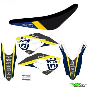 Blackbird Dream 4 Stickerset en zadelovertrek - Husqvarna FC250 FC350 FC450 FE250 FE350 FE450 FE501 TC125 TC250 TE250 TE300