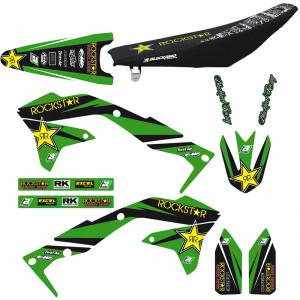 Blackbird Rockstar Stickerset en zadelovertrek - Kawasaki KXF450