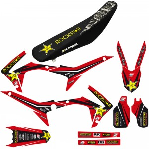 Blackbird Rockstar Stickerset en zadelovertrek - Honda CRF250R CRF450R