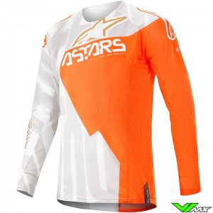 Alpinestars Techstar Factory Metal 2020 Motocross Jersey - White / Fluo Orange / Gold