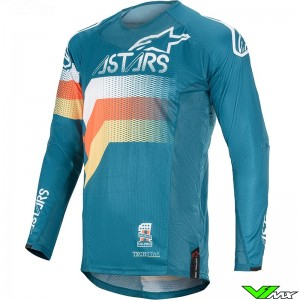 Alpinestars Techstar Venom 2020 Cross shirt - Petrol / Wit / Oranje