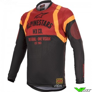 Alpinestars Racer Tech Flagship 2020 Cross shirt - Zwart / Bordeaux / Oranje