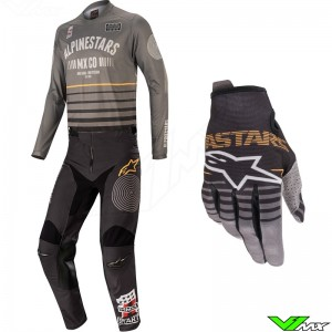Alpinestars Racer Tech Flagship 2020 Motocross Gear Combo - Grey / Black / Orange
