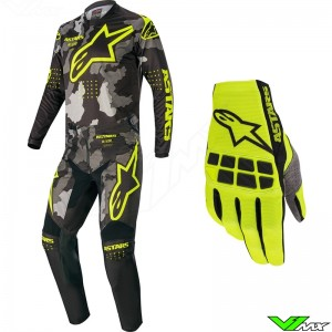 Alpinestars Racer Tactical 2020 Motocross Gear Combo - Black / Camo / Fluo Yellow