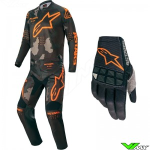 Alpinestars Racer Tactical 2020 Motocross Gear Combo - Black / Camo / Fluo Orange