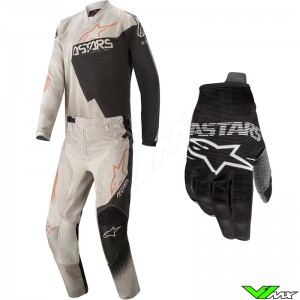 Alpinestars Racer Factory 2020 Youth Motocross Gear Combo - Grey / Black / Metaal